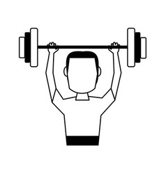 Male weight lifitng athlete sport avatar icon vector