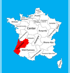 Map state aquitaine france map vector