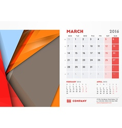 March 2016 Desk Calendar for 2016 Year Stationery vector