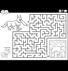 maze game with wolf and forest coloring book page vector image