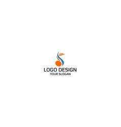 musical note sign in letter s logo design vector image