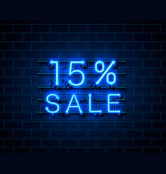 Neon 15 sale text banner night sign vector