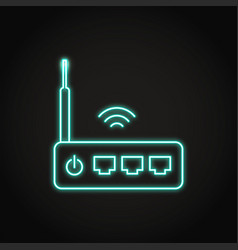 Neon wifi router icon in line style vector