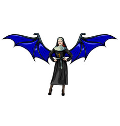 Nun nurse female possessed demon halloween vector