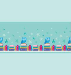 Owl bookshelf seamless border vector