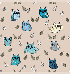 owl leaves seamless pattern owl vector image