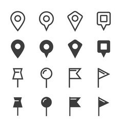 pin icons set vector image