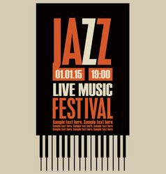 Poster for the jazz festival with the piano keys vector