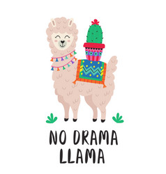 Poster with cute llama and cactus vector