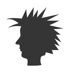 Punk with mohican head silhouette theme design vector image
