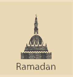 Ramadan celebration vintage engraved vector