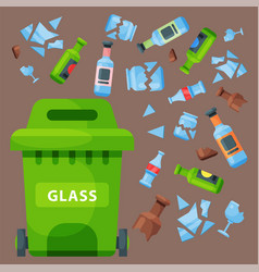 Recycling garbage glass trash bag tires management vector