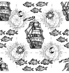 seamless nautical background with ship and fish sy vector image