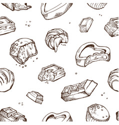 seamless pattern of sketches bitten vector image