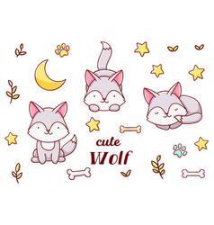 Set cute kawaii hand drawn wolf doodles isolated vector