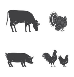 set farm animals isolated on white vector image