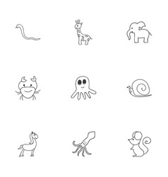 Set of 9 editable animal doodles includes symbols vector