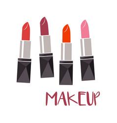 set of color lipsticks makeup vector image