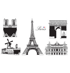 set of landmarks of paris vector image