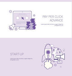 set of pay per click and startup banners business vector image