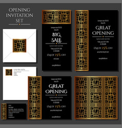 set of the invitation cards with the gold ornament vector image