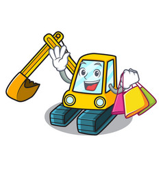 Shopping excavator character cartoon style vector