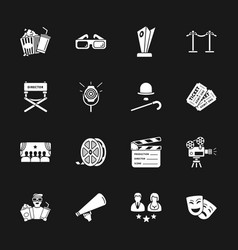 sixteen cinema icons vector image