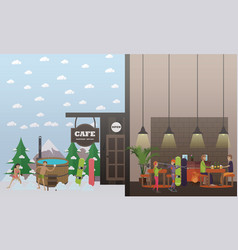 ski resort services in flat vector image