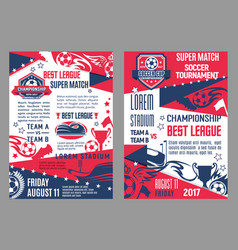 Soccer team football match posters vector
