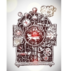 Steampunk time machine vector