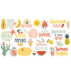 summer hand drawn lettering calligraphyc set vector image