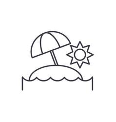 sunny island line icon concept sunny island vector image