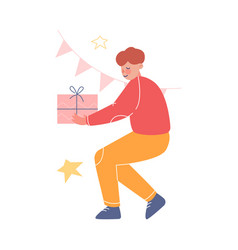 Teenage boy holding gift box decorated with ribbon vector