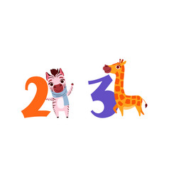 two and three numbers with cute zebra and giraffe vector image