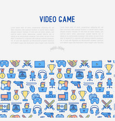 video game concept with thin line icons vector image