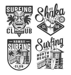 Vintage surfing logos set vector