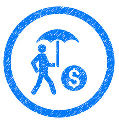 Walking businessman under umbrella rounded grainy vector