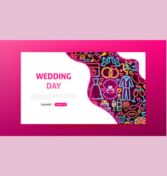 wedding day neon landing page vector image