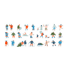 winter people group cartoon characters dressed vector image
