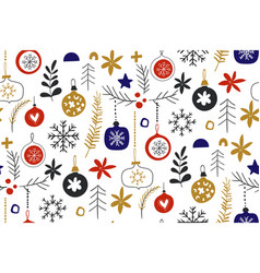 winter seamless repeat patterns with christmas vector image