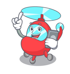 With phone helicopter character cartoon style vector