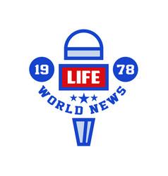 word life news 1987 logo social mass media emblem vector image