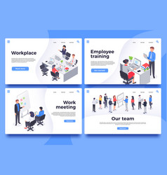 workplace landing page office workers brainstorm vector image