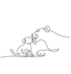 Young lioness with lion cub one line drawing vector
