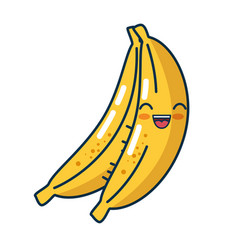 banana fresh fruit character handmade drawn vector image
