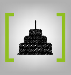 cake with candle sign black scribble icon vector image vector image