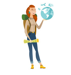 Caucasian traveler woman holding map and globe vector