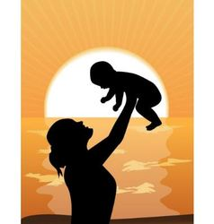 mother and child at sunset vector image vector image