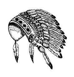 native american indians chief headdress isolated vector image