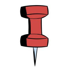 red push pin icon cartoon vector image